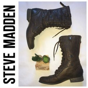 STEVE MADDEN Leather Brown Lace Up Fold Over Boots